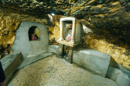 home birth: Birth Place of Virgin Mary - Home of Ioakim and Anna, Jerusalem Stock Photo