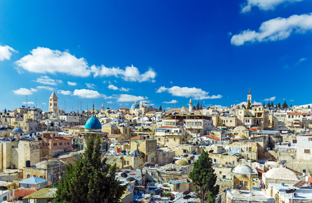 Roofs of Old City with Holy Sepulcher Church Dome, Jerusalem, Israel Stock Photo
