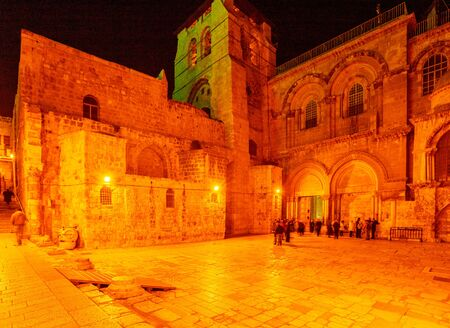 sepulcher: Holy Sepulchre Cathedral at Night, Jerusalem, Israel