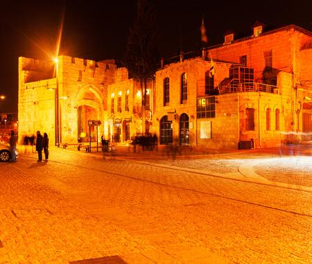 jaffa: Jaffa Gate at Night, Jerusalem, Israel