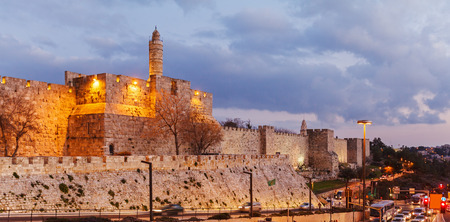 jerusalem: Walls of Ancient City at Night, Jerusalem, Israel
