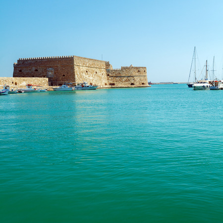 Heraklion Harbour and Fortress Kooules, Crete, Greece Editorial