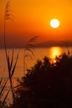 sithonia: Sunset in Sithonia, Chalkidiki, Greece Stock Photo