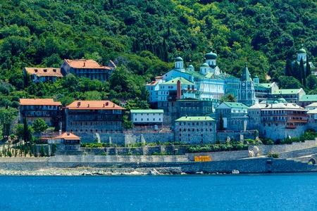 panteleimon: Saint Panteleimon Monastery, Athos Peninsula, Mount Athos, Chalkidiki, Greece Stock Photo