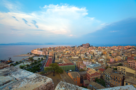 kerkyra: Aerial view from New fortress on the city with St. Spyridon church before sunset, Kerkyra, Corfu island, Greece