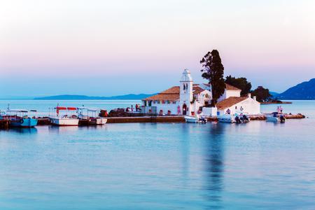 Sunset scene of Vlacherna monastery, Kanoni, Corfu, Greece