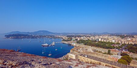 kerkyra: Aerial view from Old fortress on the city with  New Fortress, Kerkyra, Corfu island, Greece