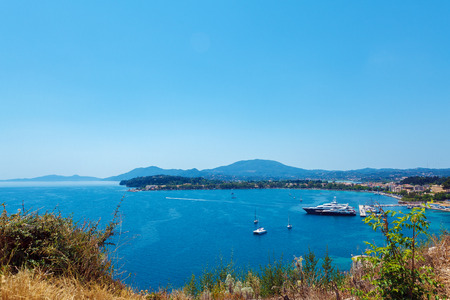 kerkyra: Aerial view from Old fortress on the marine with yachts, Kerkyra, Corfu island, Greece