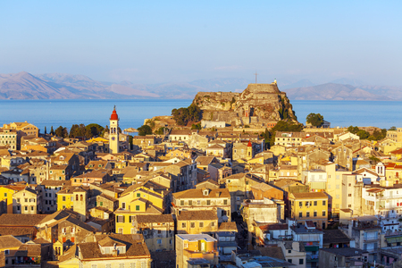 kerkyra: Aerial view from New fortress on the city with Od fortress before sunset, Kerkyra, Corfu island, Greece Archivio Fotografico
