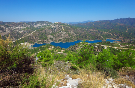 dams: Kouris dam with reservoir, the largest of a network of 107 dams, 15 km from Limassol, Cyprus Stock Photo