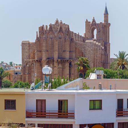 saint nicolas: Lala Mustafa Pasha Mosque (Saint Nicolas Cathedral) (1298-1400), Famagusta, North Cyprus Stock Photo