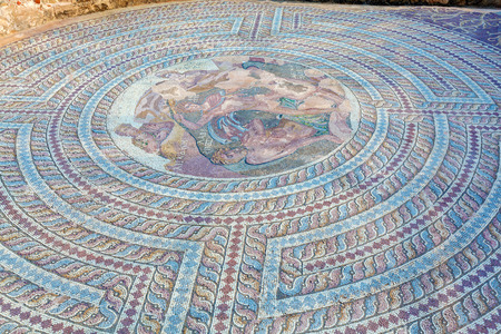 mosaic: Mosaic floors of elite romans villas (3-5th.c) with scenes from Greek mythology,Paphos, Cyprus