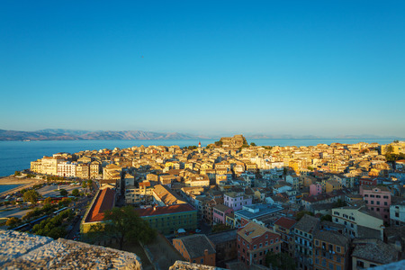 kerkyra: Aerial view from New fortress on the city with Od fortress before sunset, Kerkyra, Corfu island, Greece Stock Photo