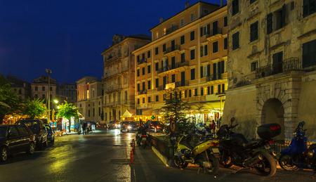 corfu: Typical buildings at night, Corfu city, Greece Stock Photo