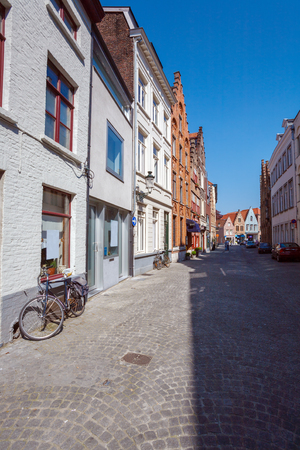 bruges: Ancient Homes of Bruges, Belgium Stock Photo