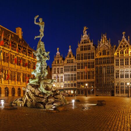 guild: Brabo Fountain and guild houses at Grote Markt, Antwerp, Belgium