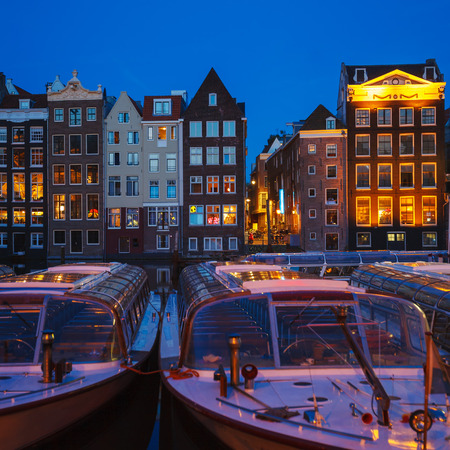 canal houses: Canal Houses at Singel, Amsterdam, Netherlands Stock Photo