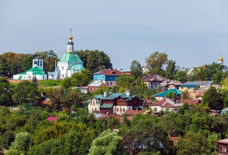 small houses: Small Houses and Orthodox Church at Vladimir City, Russia