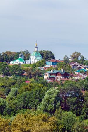 vladimir: Small Houses and Orthodox Church at Vladimir City, Russia