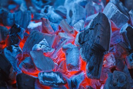 black wood texture: Barbecue Charcoals with Red Glow