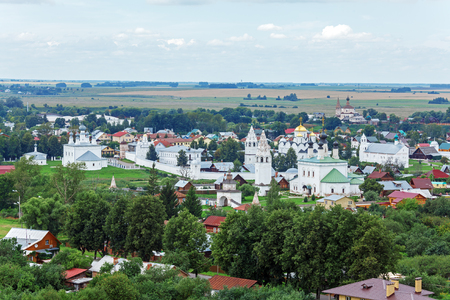 convent: Suzdal City Aerial View with Pokrovsky convent Editorial