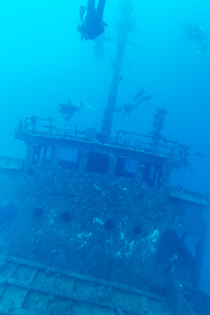 ship wreck: Ship wreck and diver, Maldives
