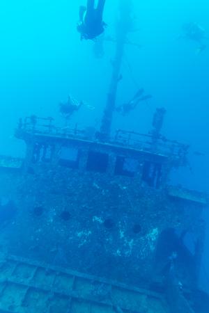 ship wreck: Ship wreck and diver, Maldives