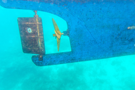 Ship Screw Propeller and Rudder Underwater View