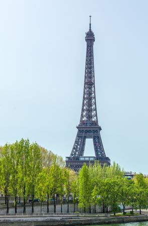 upward: Wide-angle upward view of Eiffel Tower, Paris, France