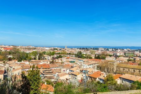 ville: View of lower city, the ville basse, Carcassonne, France Stock Photo