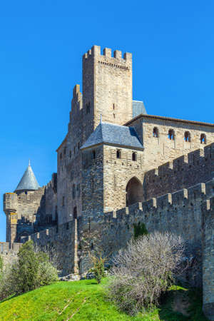 fortify: Walls and towers of famous medieval city, Carcassonne, France Editorial
