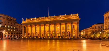 aquitaine: Night view of Grand Theater  Bordeaux (1780, designed by Victor Louis), home to the National Opera Bordeaux, Aquitaine, France Editorial