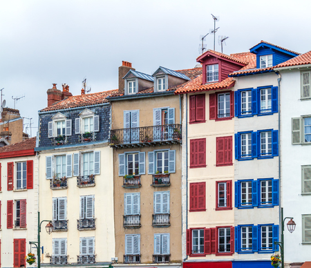 gascony: Colorful Shutters of Typical Old Homes, Bayonne, France