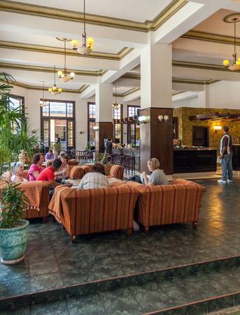 HAVANA, CUBA - APRIL 2, 2012:Interior of Hotel Ambos Mundos, where  from 1932 till 1935 lived writer Ernest Hemingway Editorial