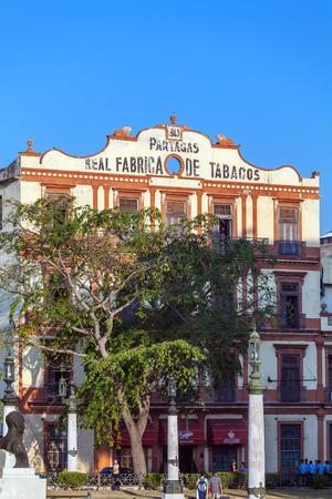 fabrica: HAVANA, CUBA - APRIL 2, 2012: Building of Partagas, one of the oldest cuban cigars brand, factory