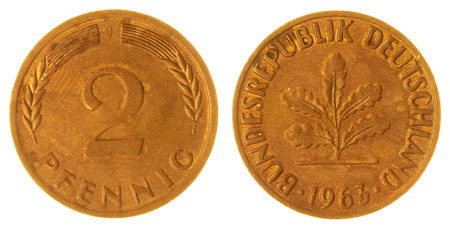 west germany: Bronze 2 pfennig 1963 coin isolated on white background, West Germany