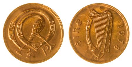numismatic: Bronze half penny 1978 coin isolated on white background, Ireland Stock Photo