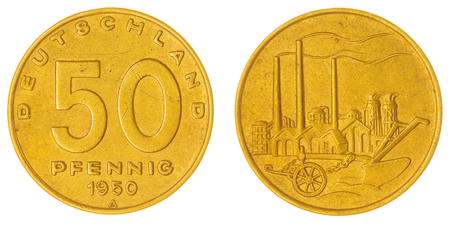 east germany: Bronze 50 pfennig 1950 coin isolated on white background, East Germany