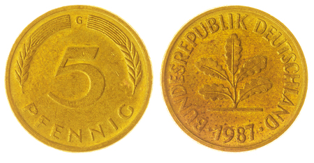 west germany: Bronze 5 pfennig 1987 coin isolated on white background, West Germany