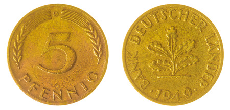 west germany: Bronze 5 pfennig 1949 coin isolated on white background, West Germany