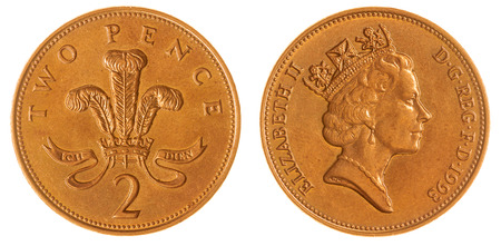 laureate: Copper plated 2 pence 1993 coin isolated on white background, Great Britain