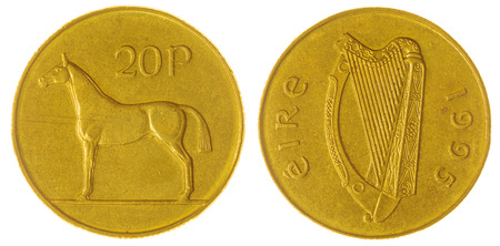 nickel: Nickel Bronze 20 pence 1995 coin isolated on white background, Ireland
