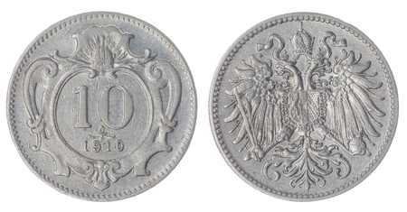 nickel: Nickel 10 heller 1910 coin isolated on white background, Austro-Hungarian Empire