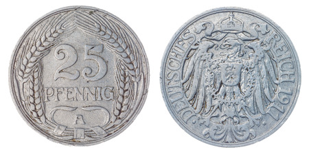 nickel: Nickel 25 pfennig 1911 coin isolated on white background, Germany Empire Stock Photo