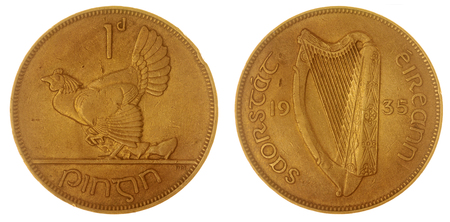 penny: Bronze 1 penny 1935 coin isolated on white background, Ireland
