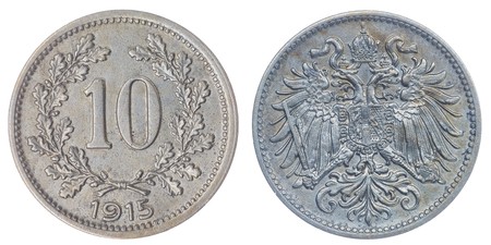 copper coin: Copper Nickel 10 heller 1915 coin isolated on white background, Austro-Hungarian Empire