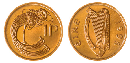 Bronze 1 penny 1995 coin isolated on white background, Ireland 版權商用圖片