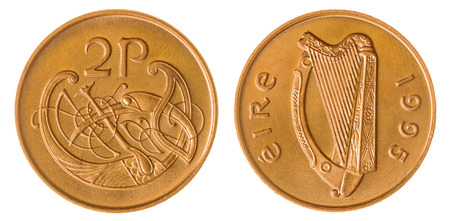 Bronze 2 pence 1995 coin isolated on white background, Ireland