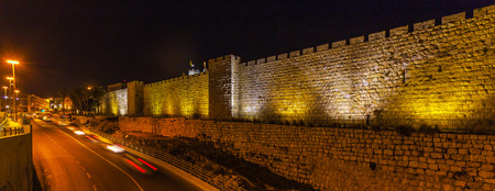 david brown: Walls of Ancient City at Night, Jerusalem, Israel
