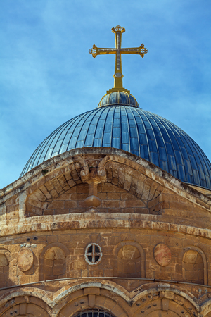 sepulchre: Dome of Holy Sepulchre Cathedral, Jerusalem, Israel Stock Photo
